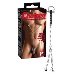 Chained - bimbócsipeszek vibrációs péniszgyűrűvel
