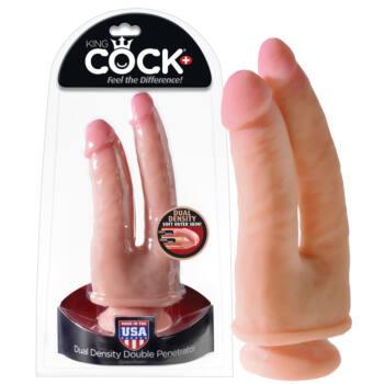 King Cock tömör, kétágú dildó (24cm) - natúr